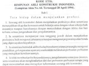 Kode Etik Himpunan Ahli Konstruksi Indonesia (HAKI) #1