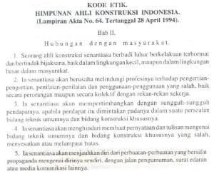 Kode Etik Himpunan Ahli Konstruksi Indonesia (HAKI) #2