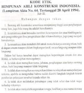 Kode Etik Himpunan Ahli Konstruksi Indonesia (HAKI) #3